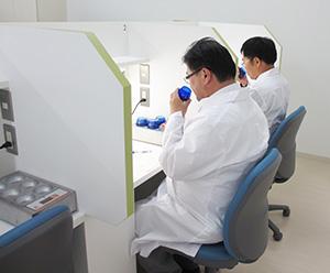 小豆オリーブ研究所内の官能評価室