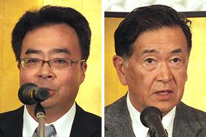 亀井創太郎会長(右)と白羽弘味の素九州支社長