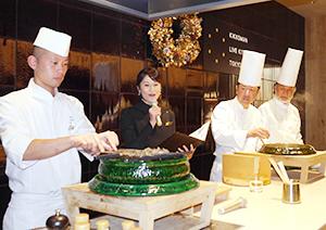 シェフと食材の組み合わせ、共演は市場でも珍しい、ライブキッチン東京の12月の実演