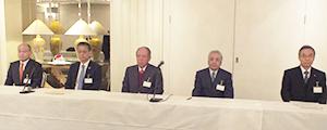 左から、桐山健一副会長、盛田淳夫副会長、飯島延浩会長、細貝理榮副会長、安田智彦副会長
