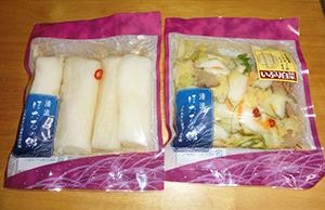 首都圏の東急ストアで販売されている「パリパリ大根」(左)と「いぶり白菜」