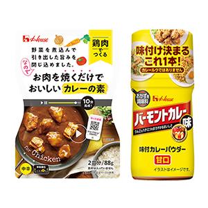 「味付カレーパウダー」(右)と「お肉を焼くだけでおいしいカレーの素〈鶏肉でつくる中辛〉」