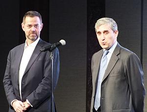 ドゥニ・ヴェルニョ社長(左)と4月1日付で社長に就任するブルーノ・ボードリ氏