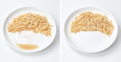 一般的なもやし炒め(左)に比べ、トレメルガムを添加したもの(右)はドリップが出ない