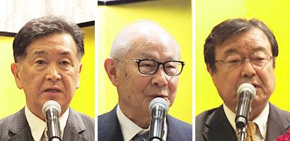 左から、亀井創太郎社長、國分勘兵衛会長、高藤悦弘専務